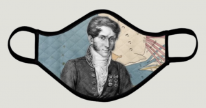 A mask with an image of Charles Minard