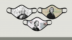 An image with three masks, each has a picture of a different historical figure