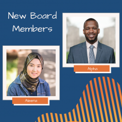 Headshots of two new board members, Alpha and Aleena